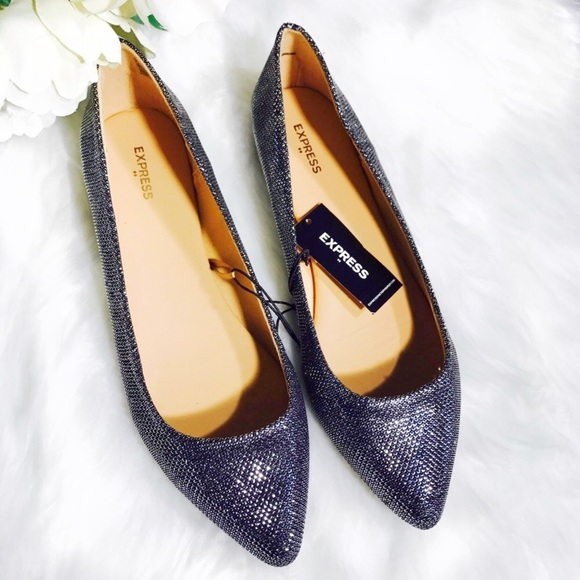 eeaaefeaf77 Express Black & Silver Glitter Pointy Toe Flats 8 NWT
